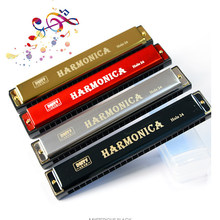Double Row 48 Tones Mouth Organ Professional 24 Hole Harmonica C-key Metal Harmonica Woodwind Instrument Beginners Teaching Aids(China)