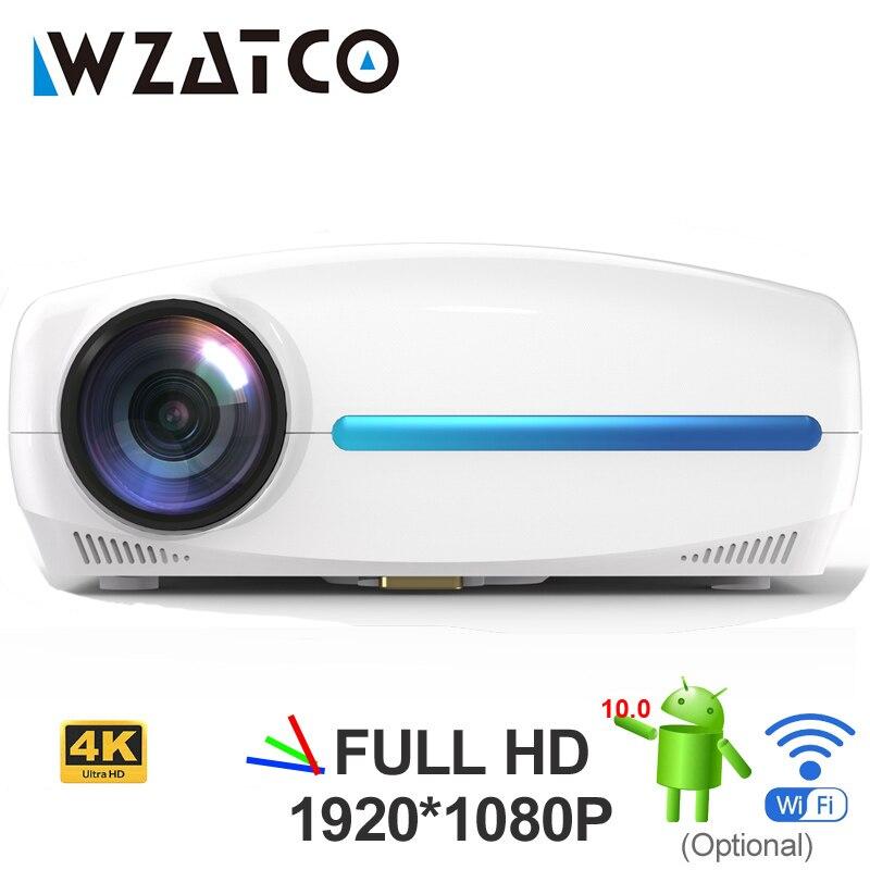 Светодиодный проектор WZATCO C2, 1920*1080P Full HD, 200 дюймов, AC3, 4D, keystone, android 10,0, Wi-Fi, портативный домашний кинотеатр 4K, проектор