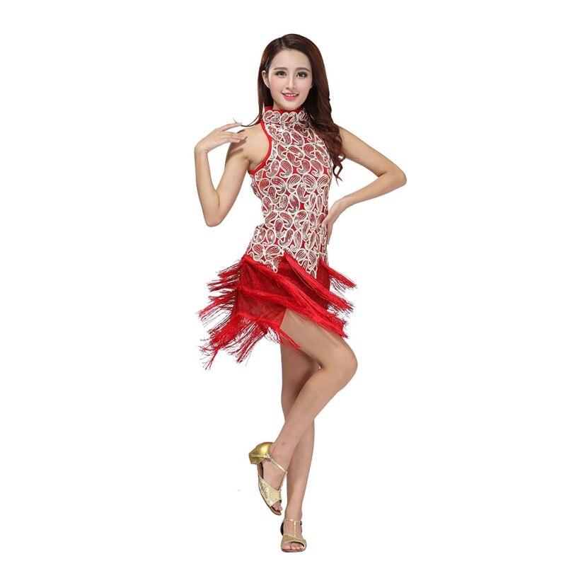 Fringes Tassels Dresses Sequin Latin Tango Samba Ballroom Salsa Dance Dress*