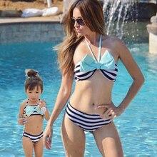 summer New women's striped bow tie tube top split bikini parent-child swimsuit swimwear lace yoke split tie back top