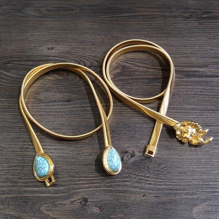 Boucle de ceinture noeud papillon plaqué or ceinture femme lion goutte d'eau Songshi lapin elastique taille chaine