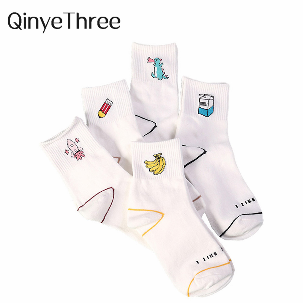 Women Kawaii Milk Banana Dinosaur Pencil Rocket Cartoon Socks meias Novelty Illustration Letter White Cute Cotton Sokke Dropship