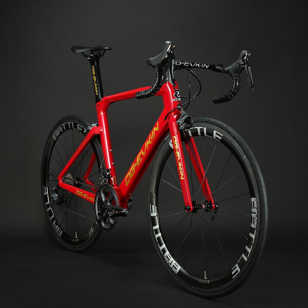 OG-EVKIN CF017 Complete Carbon Road Bike 700C UD Glossy Bicycle Road Wheels 50mm A271SB F372SB Hubs Bicycle V-brake 2019
