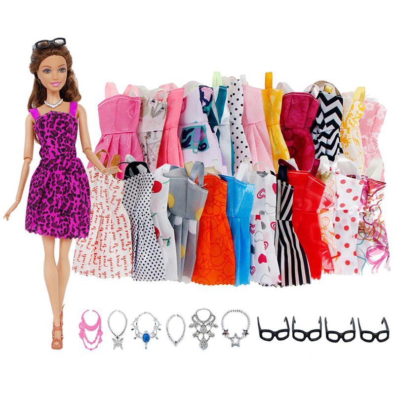20 Pcs/Lot Lovely Mini Dress Doll Skirt Daily Casual Strap Strapless Party Gown Clothes For Barbie Doll Accessories Kid Girl Toy