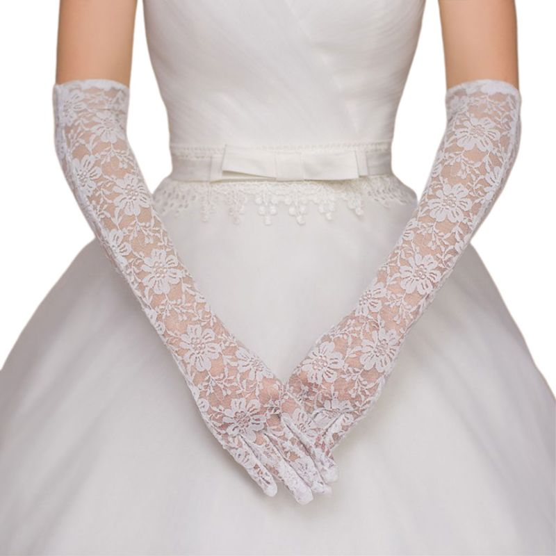 Wedding Dress Accessories Charm Bridal Gloves White Lace With Finger Long Glove Elegant Lady Bride Prom Jewelry E15E