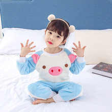 Kids Pajamas  Set Toddler Stitch Flannel leisure wear a child mouth tightly belly coral fleece pajamas suits