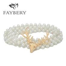 Золотой олень пояс с жемчугом для женщин Модный дизайнерский