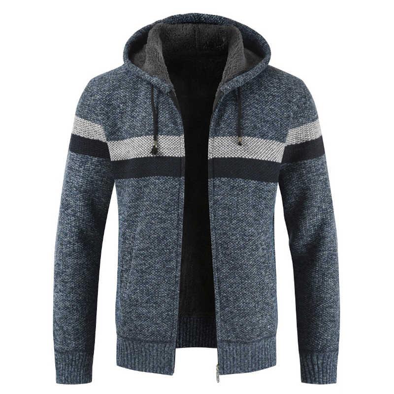 DIHOPE 스웨터 코트 남자 2019 겨울 두꺼운 따뜻한 후드 가디건 점퍼 남자 스트라이프 캐시미어 울 라이너 지퍼 양털 코트 남자