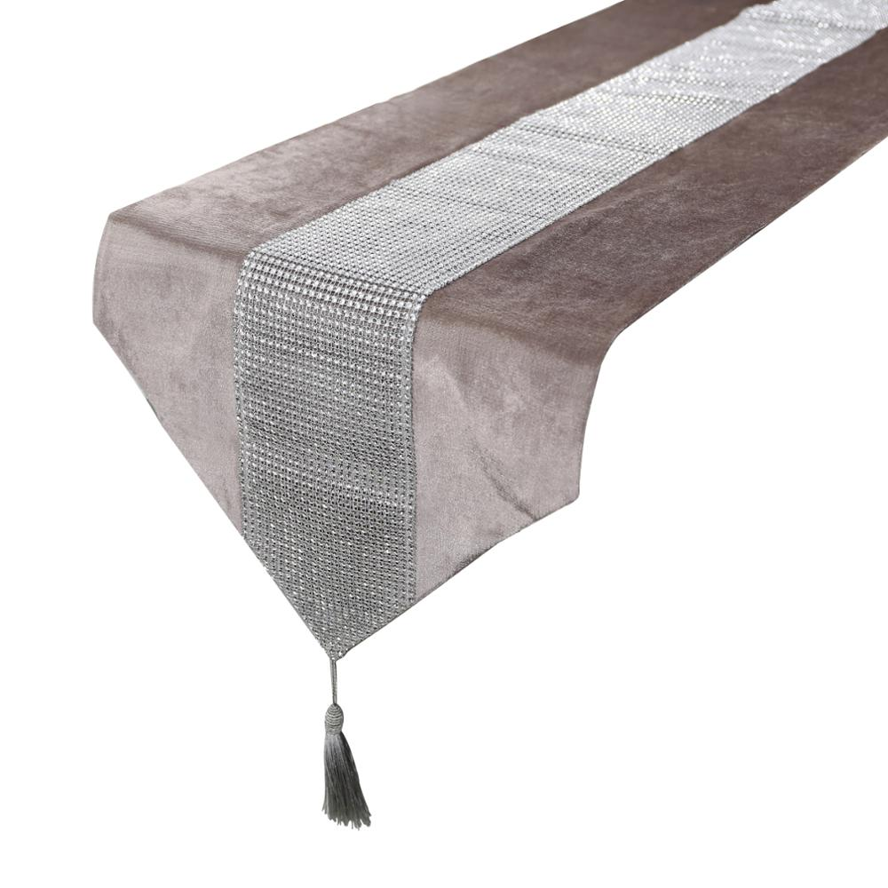 1pcs Modern Table Runner Flannel Diamond Table Marriage Runners Pillow Case Table Mat For Wedding Chirstmas Decoration
