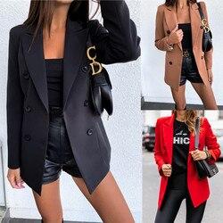 Двубортный Для женщин, блейзер для женщин, Офисные женские туфли сплошные блейзеры и куртки черный, красный 2019 Повседневное спецодежды паль...