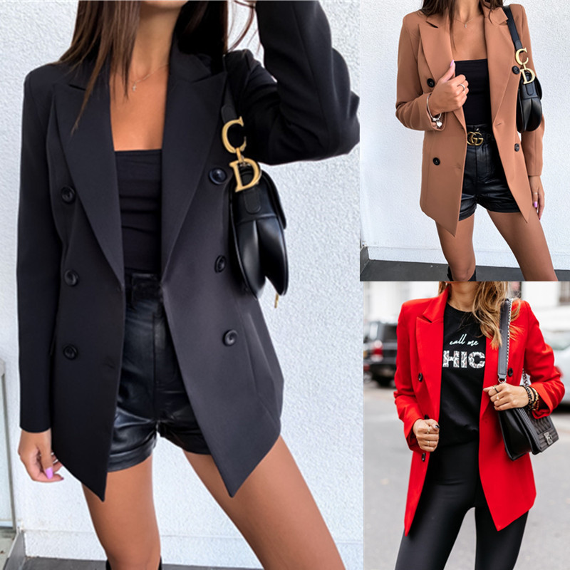 Double Breasted Women Blazer Feminino Office Lady Solid Blazers And Jackets Black Red 2019 Casual Workwear Ladies Coat Outwear