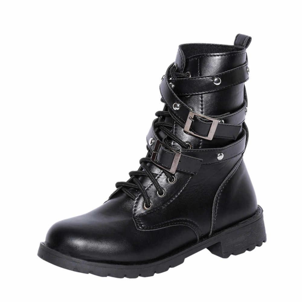 SAGACE Boyutu 35-40 Punk tarzı Motosiklet Botları Kadın Sonbahar 2019 Kısa Kadife Toka Savaş Botları Bayan Ayakkabıları