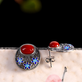style clothing, all kinds of earrings wholesale S925 silver jewelry, women's used burnt blue South Red Earrings