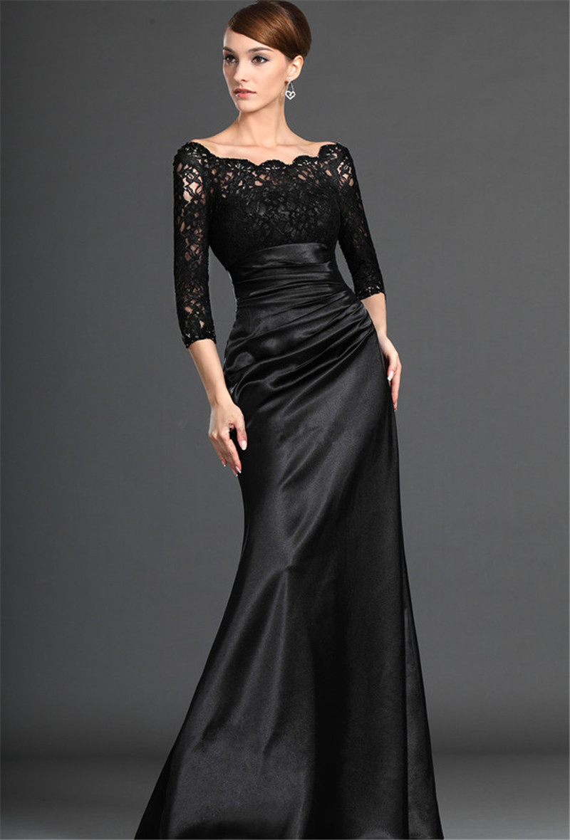 Three Quarter 2015 Real Evening Elegant Square Neckline Sleeves And Pleats On The Skirt With Floor-length Prom Dress None Rushed