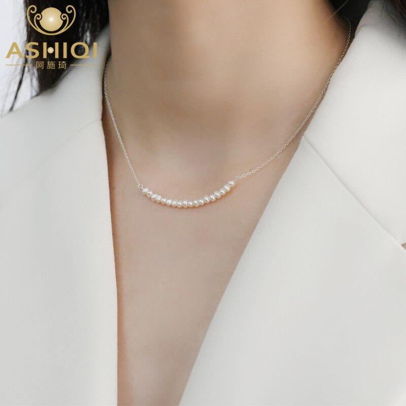 ASHIQI 925 ayar gümüş gülümseme kolye doğal tatlı su incisi takı moda kadınlar için