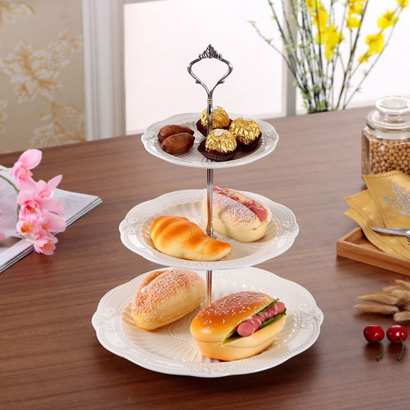1 Set 2 or 3 Tier Crown Wedding Party Birthday Cake Plate Stand Handle Fitting Rod Fruit Plates Stand Pastry Tray Cake Stand