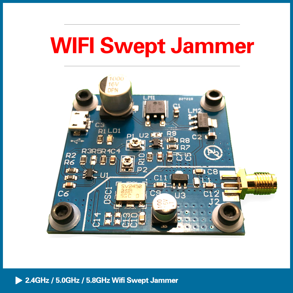 S ROBOT 2.4G / 5G / 5.8G WiFi Swept Jammer Shielder 2.4Ghz 5Ghz 5.8Ghz WiFi Jammer Shielded Development Board 5-10M