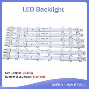"LED Backlight strip For Hitachi 42"" inch TV 374mm 8 Lamp Innotek 42FHD-L NDV REV0.2 42HXT12U VES420UNDL-N01 42HXT12U LED42F7275(China)"