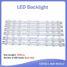 "Tira de LED para iluminación trasera para Hitachi, 42 "", TV, 374mm, 8 lámparas Innotek 42FHD L NDV REV0.2 42HXT12U VES420UNDL N01 42HXT12U LED42F7275"