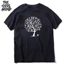 COOLMIND 100% cotton math math tree men T shirt casual short