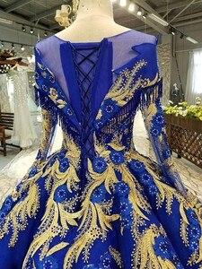 Image 5 - BGW 22010ht Royal Blau Abendkleid Oansatz Lange Tüll Ärmeln Bodenlangen Abendkleid Party Kleid Mit Glänzenden Spitze China Großhandel