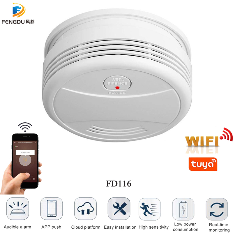 Датчик дыма Tuya Smartlife, портативный детектор дыма с Wi-Fi, управлением через приложение Android и IOS