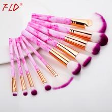 FLD 10 Pcs Professional Makeup Brush Set Full Function Foundation Eye Powder Fan Blush Brush Makeup Tools Brushes Set Kit
