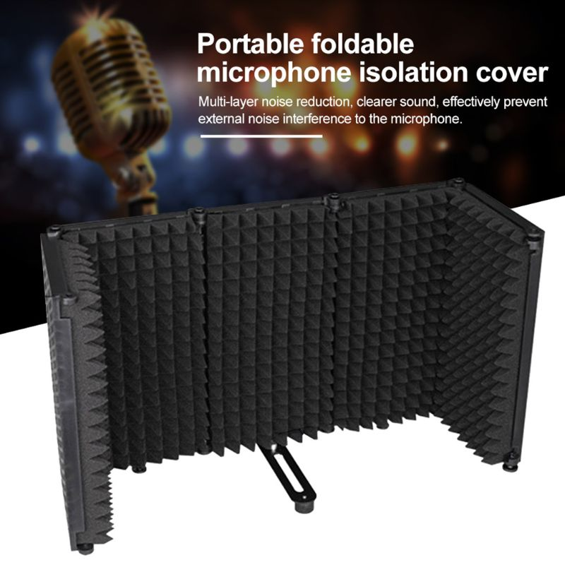 cheapest 2020 New Portable Microphone Isolation Shield Adjustable Angle Foldable Cover Wind Screen