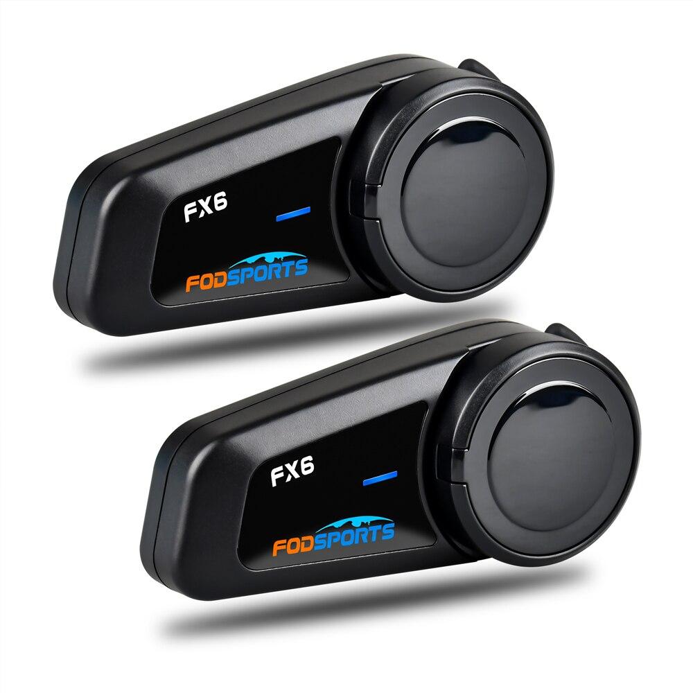 Fodsports 2 stücke FX6 Helm Intercom Motorrad Helm Bluetooth Headset 6 Fahrer 1000m Gruppe BT Sprech Intercomunicador FM