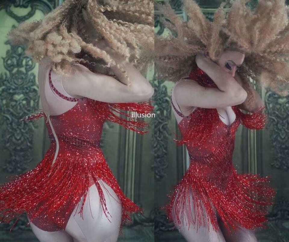 5 kolorów świecący z kryształu górskiego frędzle body klub nocny taniec DS pokaż etap nosić Stretch strój na imprezę kobiet piosenkarka kostium taneczny