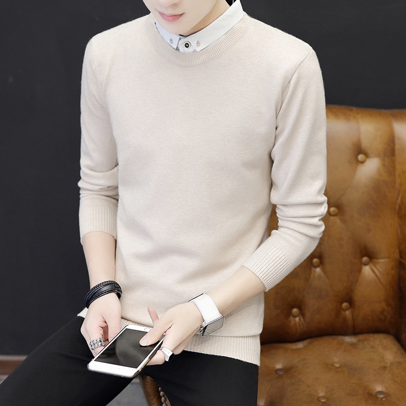 Autumn Shirt Collar Mens Sweaters 2019 Pullover Knitted Preppy Style Men Sweater Thin Clothes Fake Two Pieces Black Pullovers