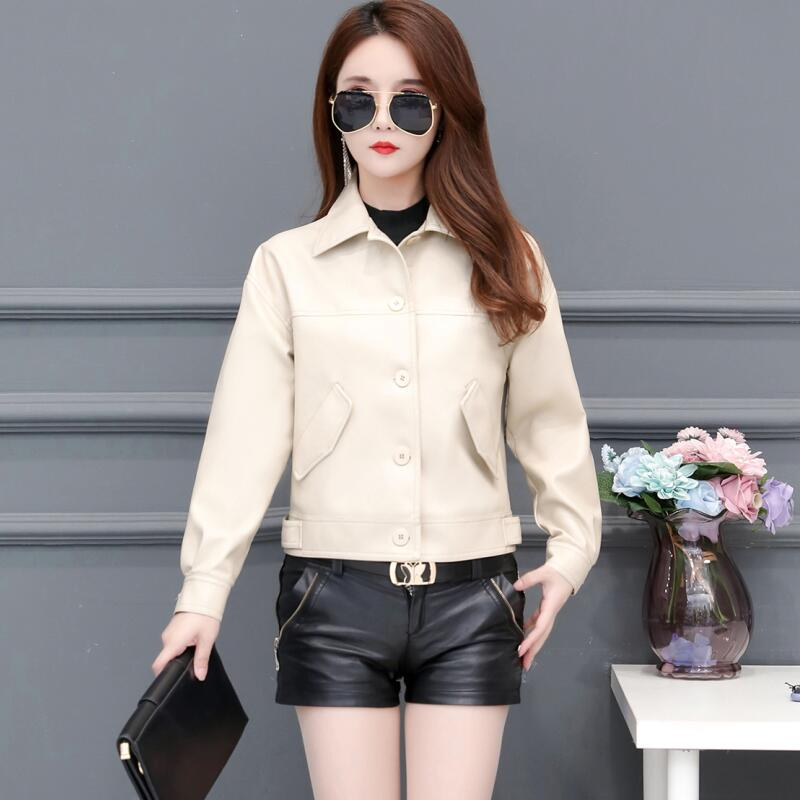 Spring And Autumn Women's   Leather   Jacket 2019 New Women's   Leather   Clothing Short Slim Motorcycle   Leather   Coat Female Outerwear