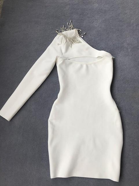 2021 Summer New Style Women's Rhinestone Tassel Mini Sexy Irregular Single-sleeved Bandage Dress Celebrity Runway Party Dresses 4