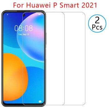 Per il caso di huawei p di smart 2021 protezione dello schermo della copertura di vetro temperato su psmart p smar smat samrt del telefono di protezione coque borsa globale