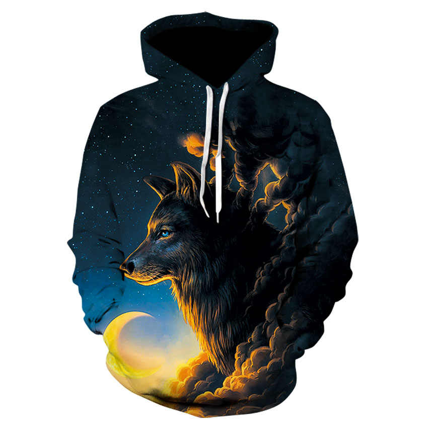 Moletom de capuz, novo estilo masculino e feminino, animal brilhante, brilhante, 3d, impresso, digital, lobo, suéter