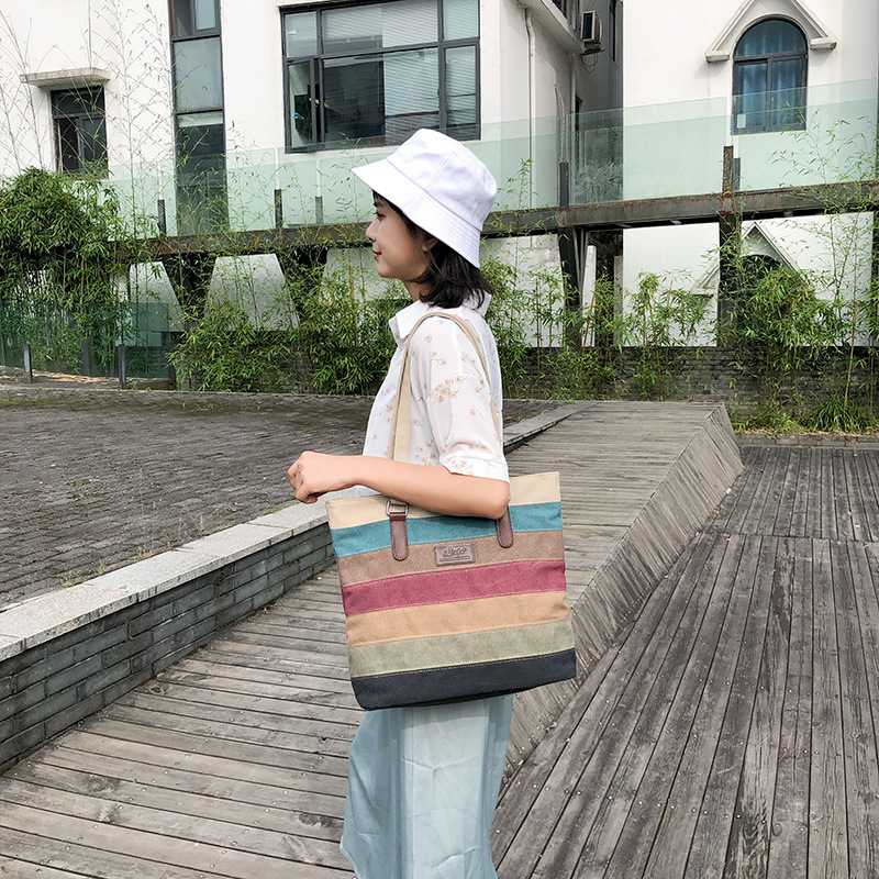Women's Canvas Handbag New Style Fashion Joint Shoulder Bag Women's Commuting Large Bag Shoulder Bag Europe And America Fashion