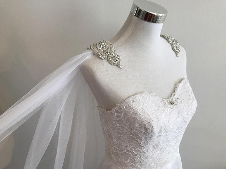 "Cape Veil  Rhinestone Appliques On Shoulders__ 108""W X 120"" (3 Meter) Long, Bridal Shoulder Veil In White, Ivory (SZ089JS)"