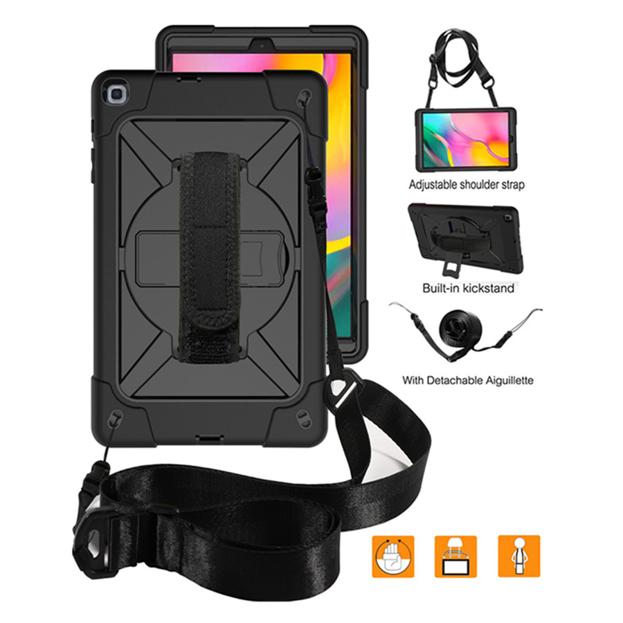 Case For Samsung Galaxy Tab A 10.1 SM T510/T515 2019 Funda Cover 3 Layer Hybrid Drop Protection 360 Rotate Hand Strap+Neck Strap Tablets & e-Books Case     - title=