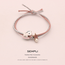 Sempli 2 Colors High Quality Metallic Line Rubber Bands Gold Silver Trojan Elastic Hair Women Pearl Girl Accessories