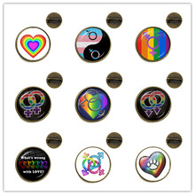 Gay Pride Brooches Same Sex LGBT Jewelry Gay Lesbian Pride With Rainbow Love Wins Gift Same Sex Marriage Love Gift Collar Pins(China)