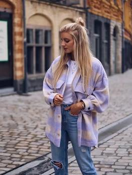 Élégant doux Plaid laine chemise vestes femmes mode poches col rabattu vérifier veste mignon filles Chic manteau Streetwear 1