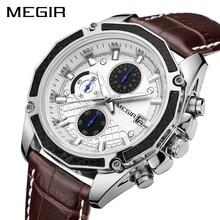 MEGIR Official Quartz Men Watches Fashion Genuine Leather Chronograph Watch Clock for Gentle Men Male Students Reloj Hombre 2015 shhors 2015 10m eyki reloj hombre 10000301