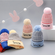 Smile Knitted Baby Winter Hat For Kids Pompon Handmade Beanies Double Side Bonnet Warm Hats Cute Caps 2019  Hot Sale