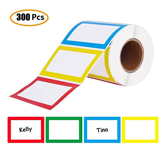 Name Tag Labels 300 Pcs Colorful(red,yellow,blue,green) Plain Name Label Stickers For School Teacher Company Stationery Sticker