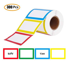 Name Tag Labels 300 Pcs Colorful(red,yellow,blue,green) Plain Label Stickers for school teacher company stationery sticker