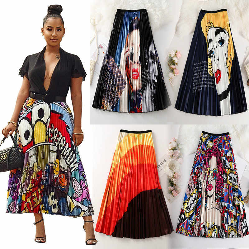 Faldas plisadas de verano 2020 con estampado de dibujos animados Empire High Elastic para mujer Midi Skirt Big Swing Party Holiday High Street