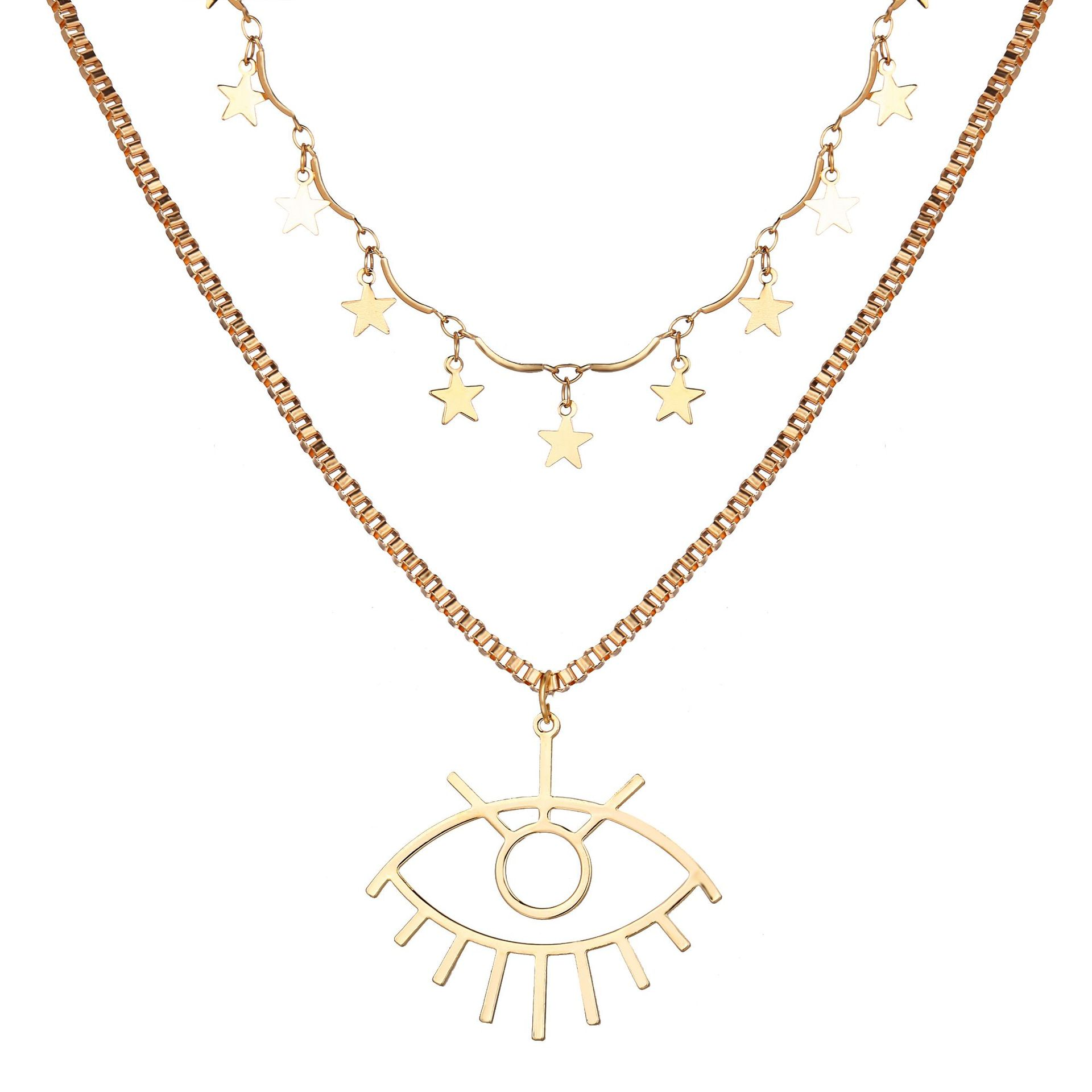 Bohemian Multi Layered Necklace for Women Vintage Eye Star Pendant Necklace Geometric Collier Collares
