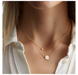 JUJIE Minimalist 316L Stainless Steel Pearl Necklaces For Women 2020 Simple Gold Chain Necklace Jewelry Dropshipping/Wholesale