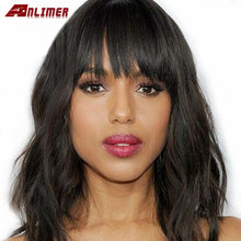 Natural Wavy Bob Wig Glueless 13x4 Lace Front Human Hair Wigs With Bangs 130% Density Remy Hair Pre Plucked Lace Front Wigs(China)