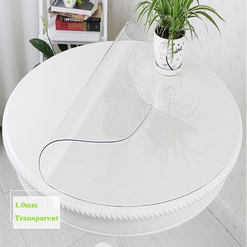 Toalha de mesa à prova de umidade do pvc toalha de mesa redonda cozinha transparente pintura a óleo toalha de mesa de vidro macio pano 3 cor 1.0mm almofada